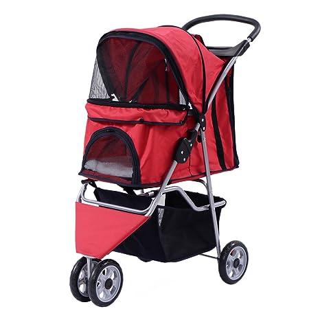 Costway Carro para perro perros buggy perros buggy pet stroller con portavasos y bolsa de la