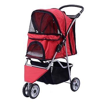 Costway Carro para perro perros buggy perros buggy pet stroller con portavasos y bolsa de la compra 3 ruedas color a elegir: Amazon.es: Productos para ...