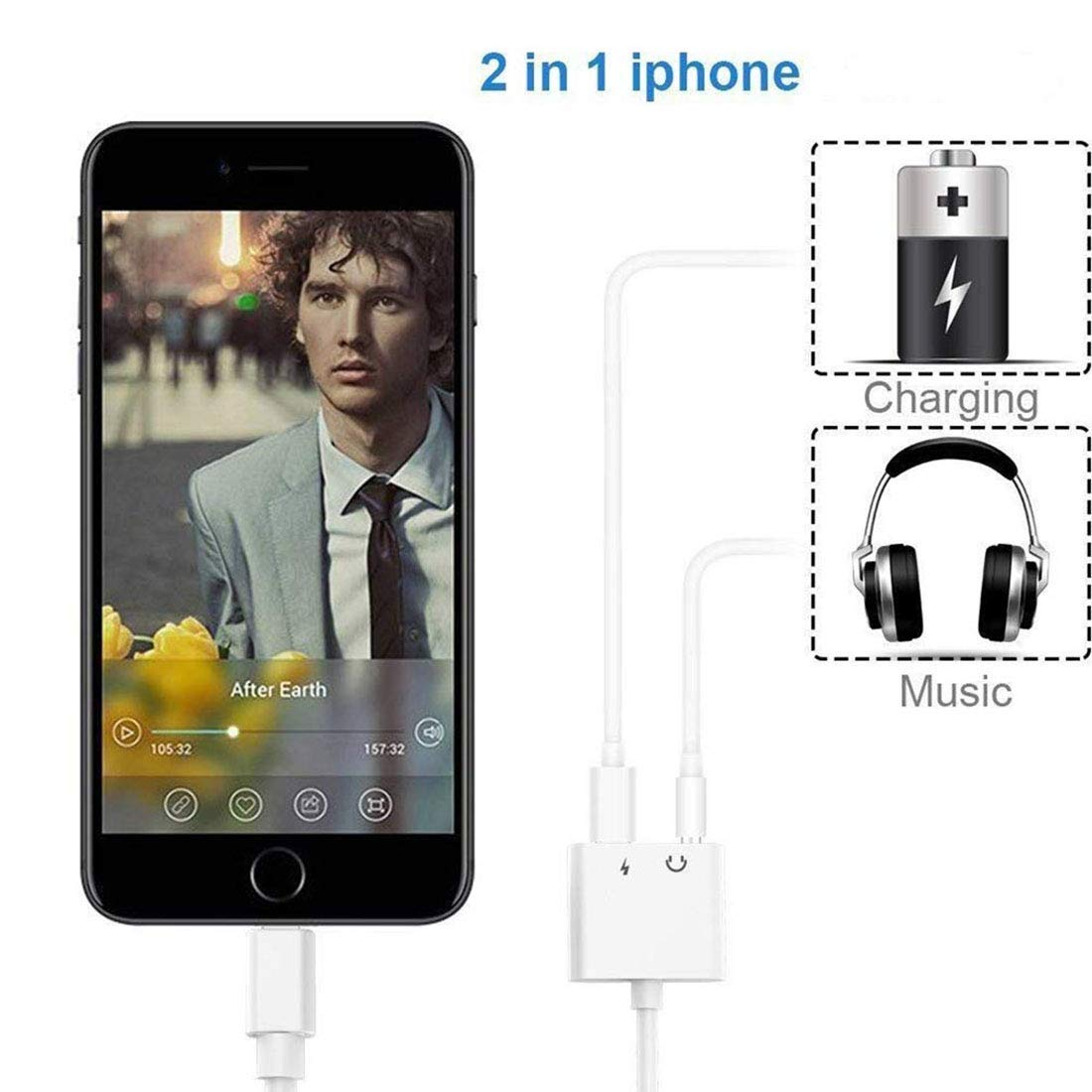 Adapter for iPhone 8 Audio and Charge Adapter for iPhone for iPhone 7//8Plus//XR//X//XS//XS max Earphones Adapter Jack Splitter Dual in 1 Music Charger Cables Charge /& Aux Audio Support iOS 12 grecab