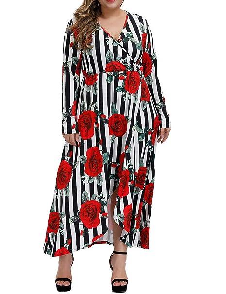 Amazon.com: Allegrace - Vestido largo con cuello en V para ...