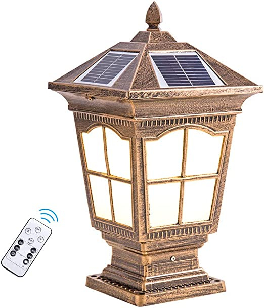 ACHNC Lámpara de Jardín Solar Farola de Exterior con Control Remoto,Marrón Oro Lámparas de Cabeza de Columna Antiguo Aluminio Lámpara de Exterior Vintage Patio Camino Paisaje Caminos Faros de Columna: Amazon.es: Hogar