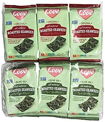 Seaweed Love All Natural Roasted Seaweed Variety Pack, Original and Olive Oil, 0.18 Ounce (Pack of 24)