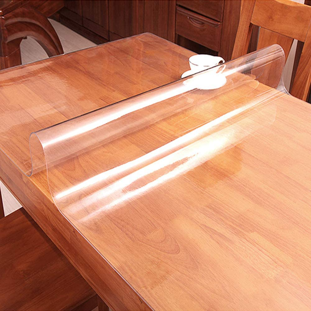 60x60 Inch Square Clear Plastic Table Protector for Dining Room Table Cloths Wipeable Vinyl Tablecloth Furniture PVC Protective Desktop Liner Cover Waterproof Tabletop Protection Desk Blotter Mat Pad