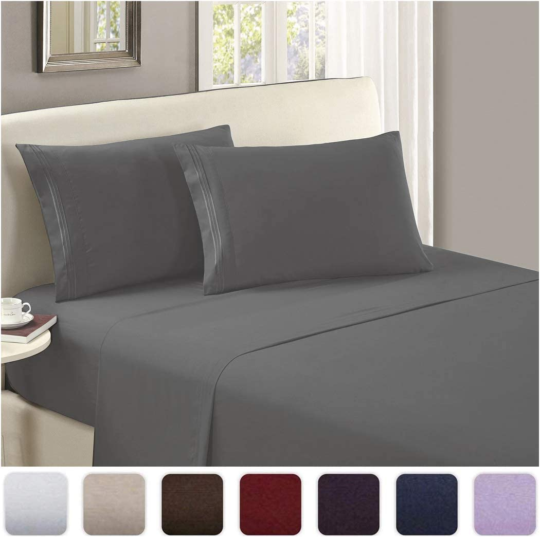 Mellanni Luxury Flat Sheet - Brushed Microfiber 1800 Bedding Top Sheet - Wrinkle, Fade, Stain Resistant - Ultra Soft - Hypoallergenic - 1 Flat Sheet Only (King, Gray)