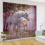 "LB 3D Blackout Unicorn Window Curtains 3D Window Drapes Window Treatment Decorative Living Room Bedroom Curtain 2 Panels Set,color 3(104""W By 95""L) Review"