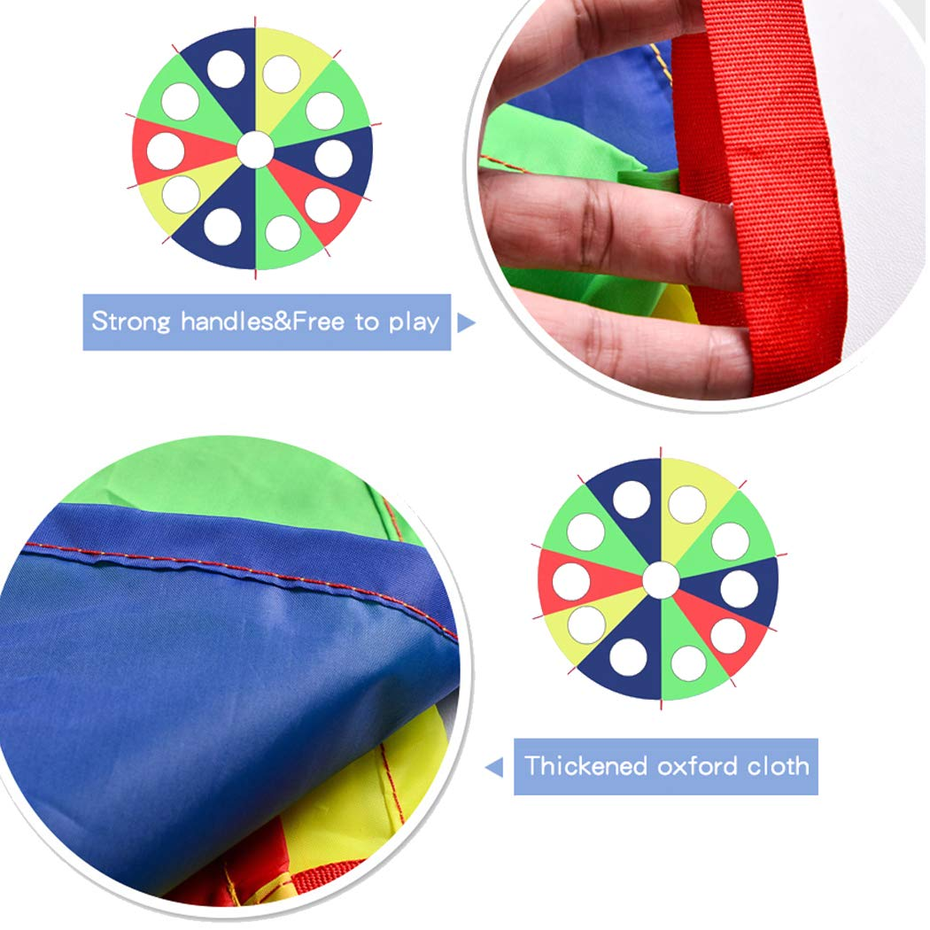 HAPPYMATY Rainbow Umbrella Parachute 13 Foot with 10 Handles for Kids,Play Parachute Outdoor Games(Whack a Mole) Activities Toys with 3 Air Sticks 4M/13FT by HAPPYMATY (Image #3)