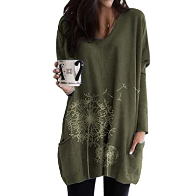 Women's Plus Size Dandelion Printed Pockets Tunic EDC Casual Loose Long Sleeve Tops Blouse Shirts Outwear for Leggings at Women's Clothing store
