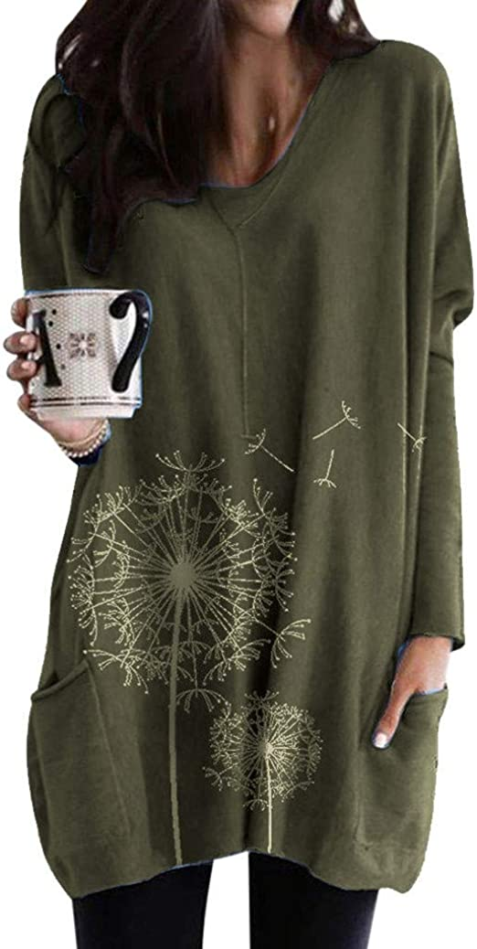 Made in USA Womens Casual Long Sleeve Layered High Low Tunic Top