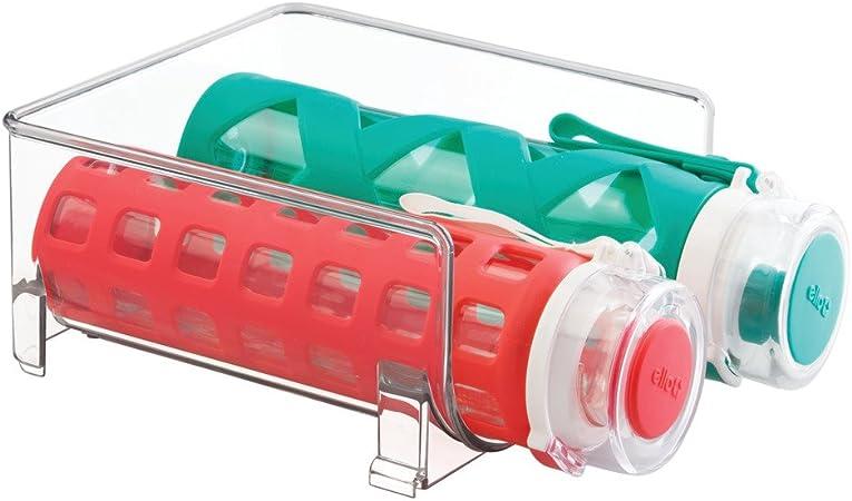Conjunto de botellero apilable transparente Ideal tambi/én como botellero de vino mDesign Juego de 2 estantes para botellas de vino