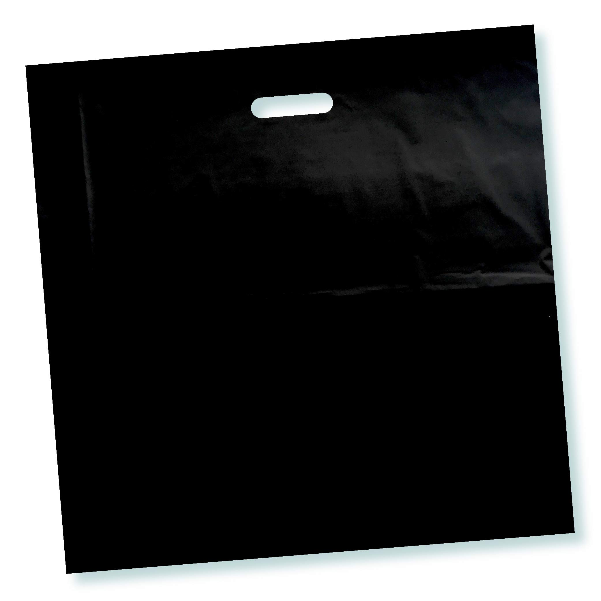 100 Pack 16'' x 16'' with 2 mil Thick Black Merchandise Plastic Glossy Retail Bags | Die Cut Handles | Perfect for Shopping, Party Favors, Birthdays, Children Parties | Color Black | 100% Recyclable