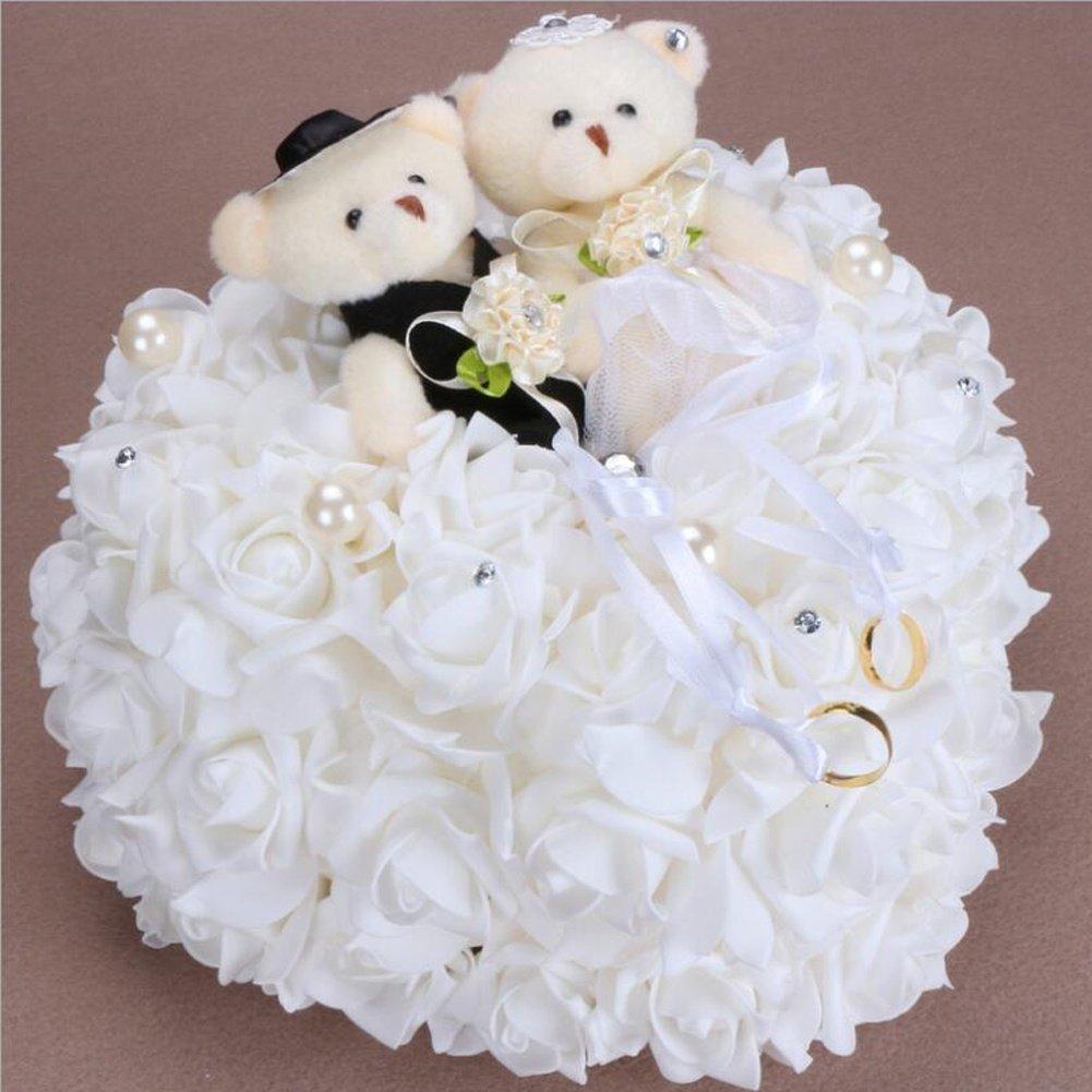 bgblgf M Bride Bear Ring Pillow Rose Love Ring Pillow 2525 cm, White, 2525cm