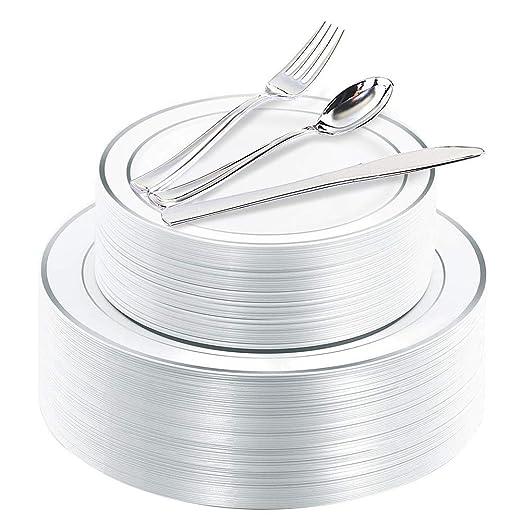 Platos de plástico de plata de 100 piezas con cubiertos ...