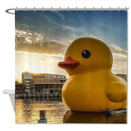 Rioengnakg Mildew Resistant Fabric Giant Rubber Duck Shower Curtain Polyester Waterproof 72 X Amazoncouk Kitchen Home