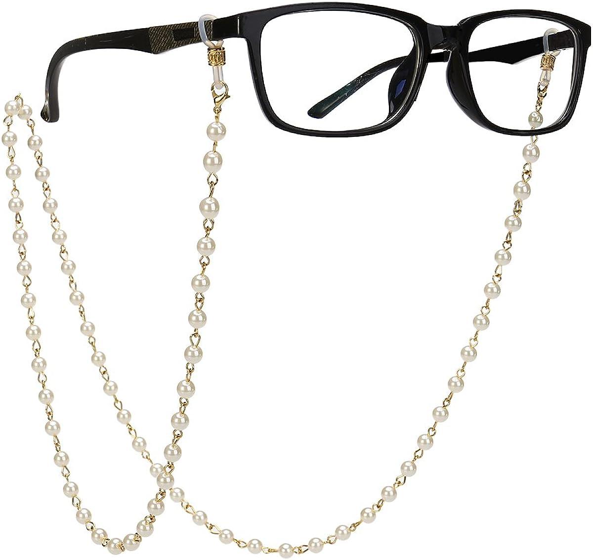FANTESI 4 pcs Eyeglasses Chain Glasses Chain Non-Slip Metal Glasses Strap Spectacle Chain Glasses Cord Sunglasses Strap Lanyard Eyewear Strap for Women Sports