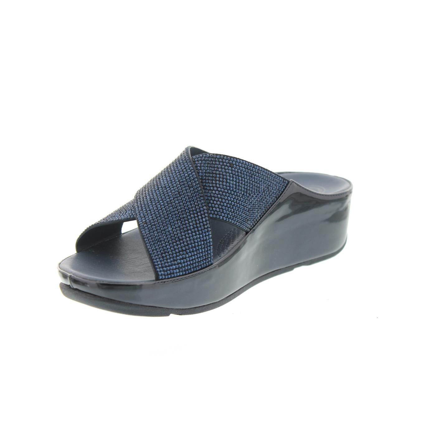 Fitflop Crystall Slide, Pantolette, Supernavy (blau) B35-097, Größe 40