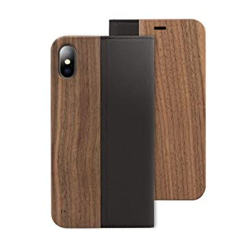 NALIA Madera Funda Libro Compatible con iPhone X XS, Carcasa con Tapa Ultra-Fina Flip-Case Wood Natural Cover, Cuero Sintético Vegan Cubierta Movil ...