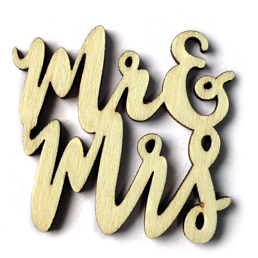 Connoworld 15Pcs Mr & Mrs Words Wooden Rustic Wedding Table Confetti Scatter Decoration Crafts
