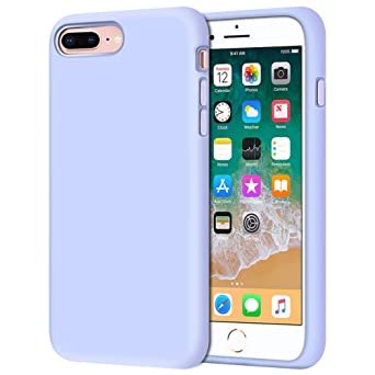 """I Phone 8 Plus Case, I Phone 7 Plus Case, Anuck Soft Silicone Gel Rubber Bumper Case Microfiber Lining Hard Shell Shockproof Full Body Protective Case Cover For I Phone 7 Plus /8 Plus 5.5"""", Light Purple by Anuck"""