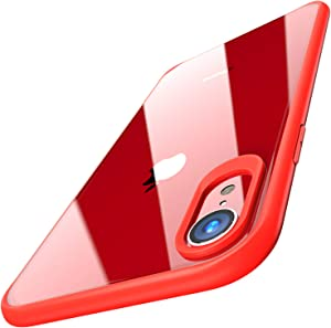 TOZO for iPhone XR Case Hybrid Soft Grip Matte Finish Frame Clear Back Panel Ultra-Thin [Slim Fit] Cover for iPhone XR 6.1 Inch 2018 (RED)
