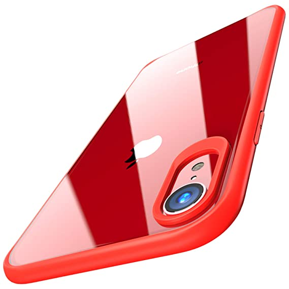 newest ed07f ab8c7 TOZO for iPhone XR Case Hybrid Soft Grip Matte Finish Frame Clear Back  Panel Ultra-Thin [Slim Fit] Cover for iPhone XR 6.1 Inch 2018 (RED)