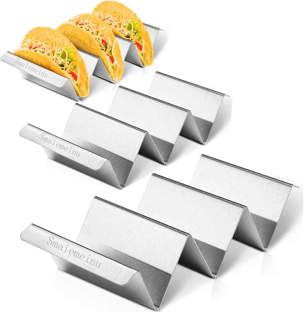 Taco Holder Stand, Stainless Steel Taco Truck Tray Style, Mexican Food Taco Rack Shells, Each Rack Holds Up to 3 Tacos, Oven Safe, (3 PACK)