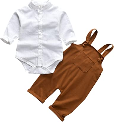 Amazon.com: Unutiylo Baby Boys Clothes for Gentleman Outfits,Toddler  Overalls Baby Suspender Pants and Bodysuit Romper Set: Clothing