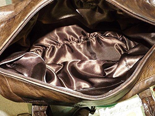 Borsone a mano aereo in pelle uomo -Vero Artigianato italiano -L45xH35xP15 cm belst fossile