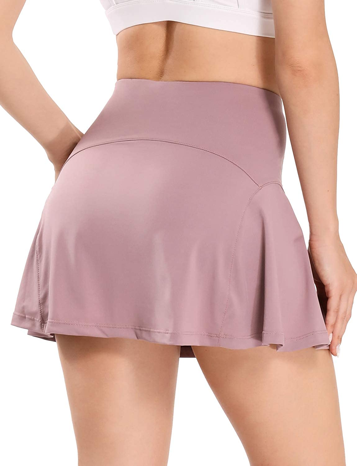 WOWENY Women's Tennis Skirt with Pockets Active Athletic Skorts Golf Running Sports Skirts with Shorts