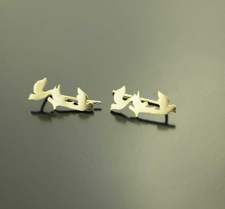 Ohrstecker V/ögel Tauben Friedenstauben golden Spange Ohrringe Stecker