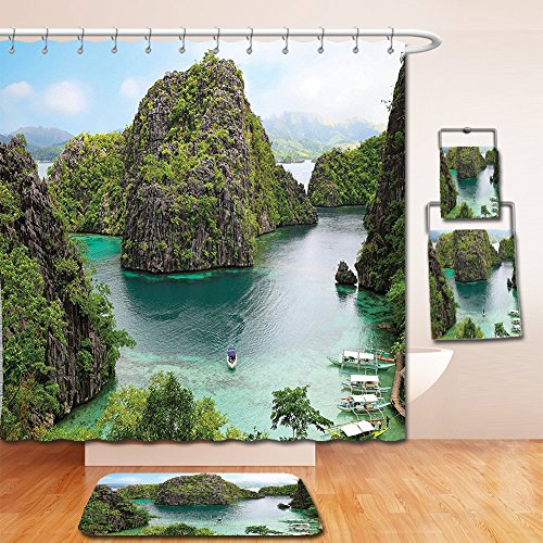 Nalahome Bath Suit: Showercurtain Bathrug Bathtowel Handtowel Ocean Island Decor Landscape of Majestic Cliff in Philippines Wild Hot Nature Resort Off Picture Green Brown Blue