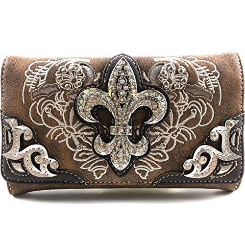 Justin West Western Floral Laser Cut Embroidery Studded Silver Rhinestone Fleur De Lis Wristlet Trifold Wallet Attachable Long Strap (Brown)