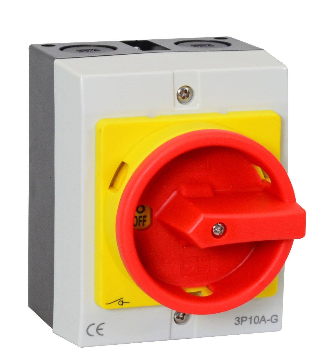Interrupteur principal dans le boî tier 4 pô les 10A Interrupteur de ré paration Interrupteur d'arrê t d'urgence Interrupteur d'arrê t d'urgence Intratec