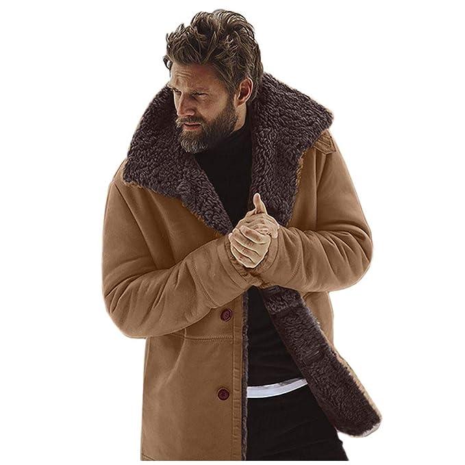 Amazon.com: Kemilove - Chaqueta de piel de oveja para hombre ...