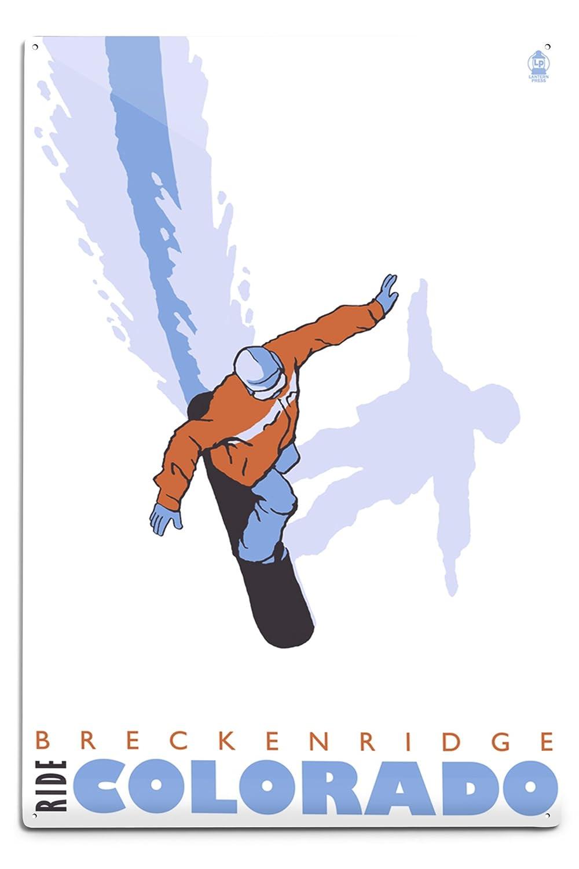 格安即決 Stylized Snowboarder – 18 Breckenridge、コロラド州 12 x x Metal 18 Metal Sign LANT-26227-12x18M B06Y1JGHJK 12 x 18 Metal Sign, CRISPIN(クリスピン):78f73890 --- 4x4.lt