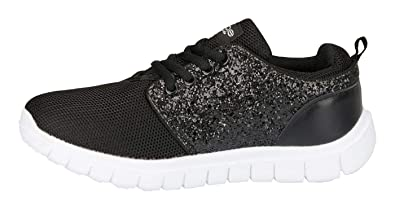 6cd8a273c9a bebe Girls Mesh PU Jogger Sneakers Glitter Panel Comfort Sporty Slip-On  Shoes