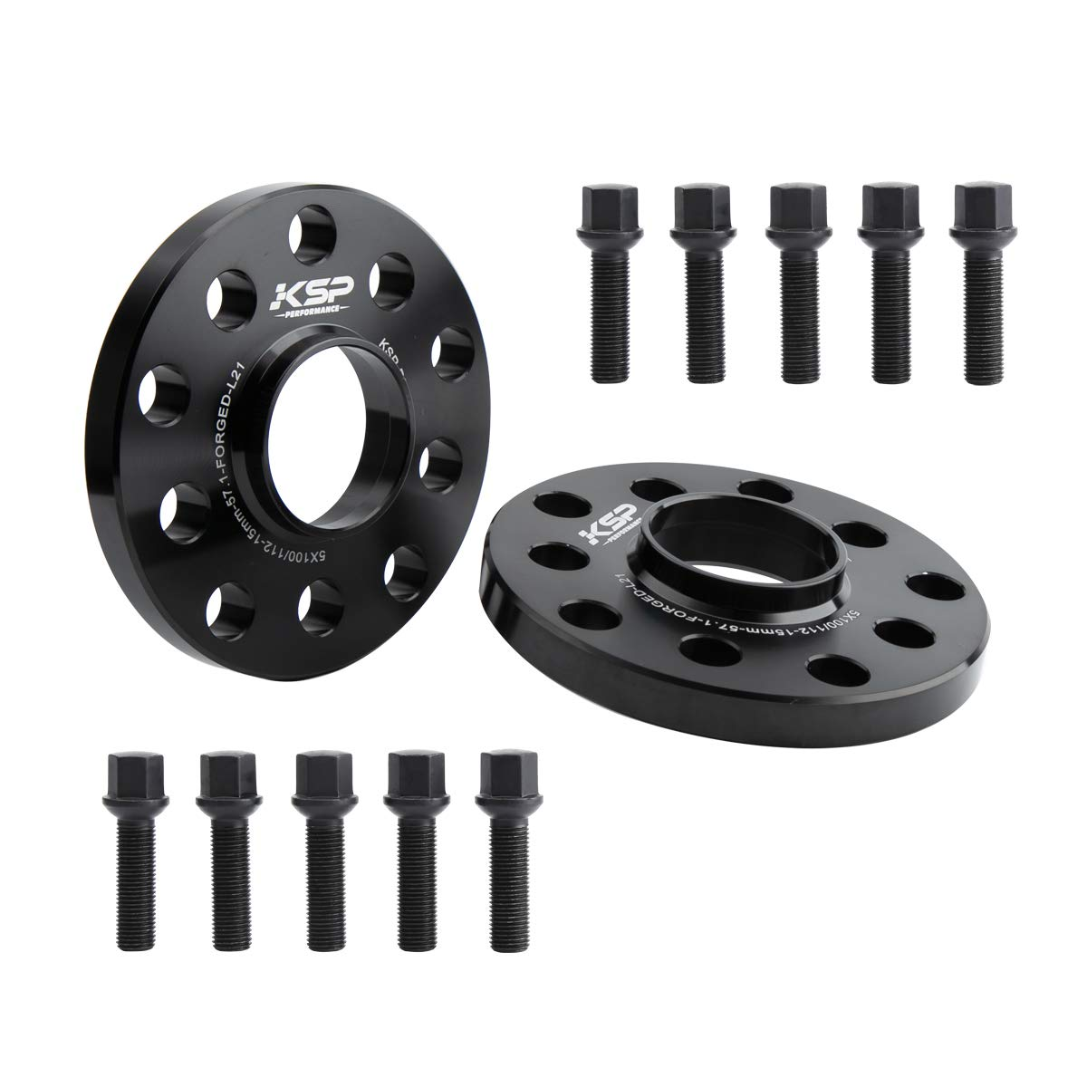 KSP 5X100 5X112 Wheel Spacers, 2PCS 15mm Hubcentric Forged Spacers With Sphere Seat Lug Bolts fit for Audi A3 A4 A6 A8 S4 S6 S8 Quattro TT VW 5 Lug Thread Pitch M14x1.5 Hub Bore 57.1mm, 2-Year Warrany by KSP Performance
