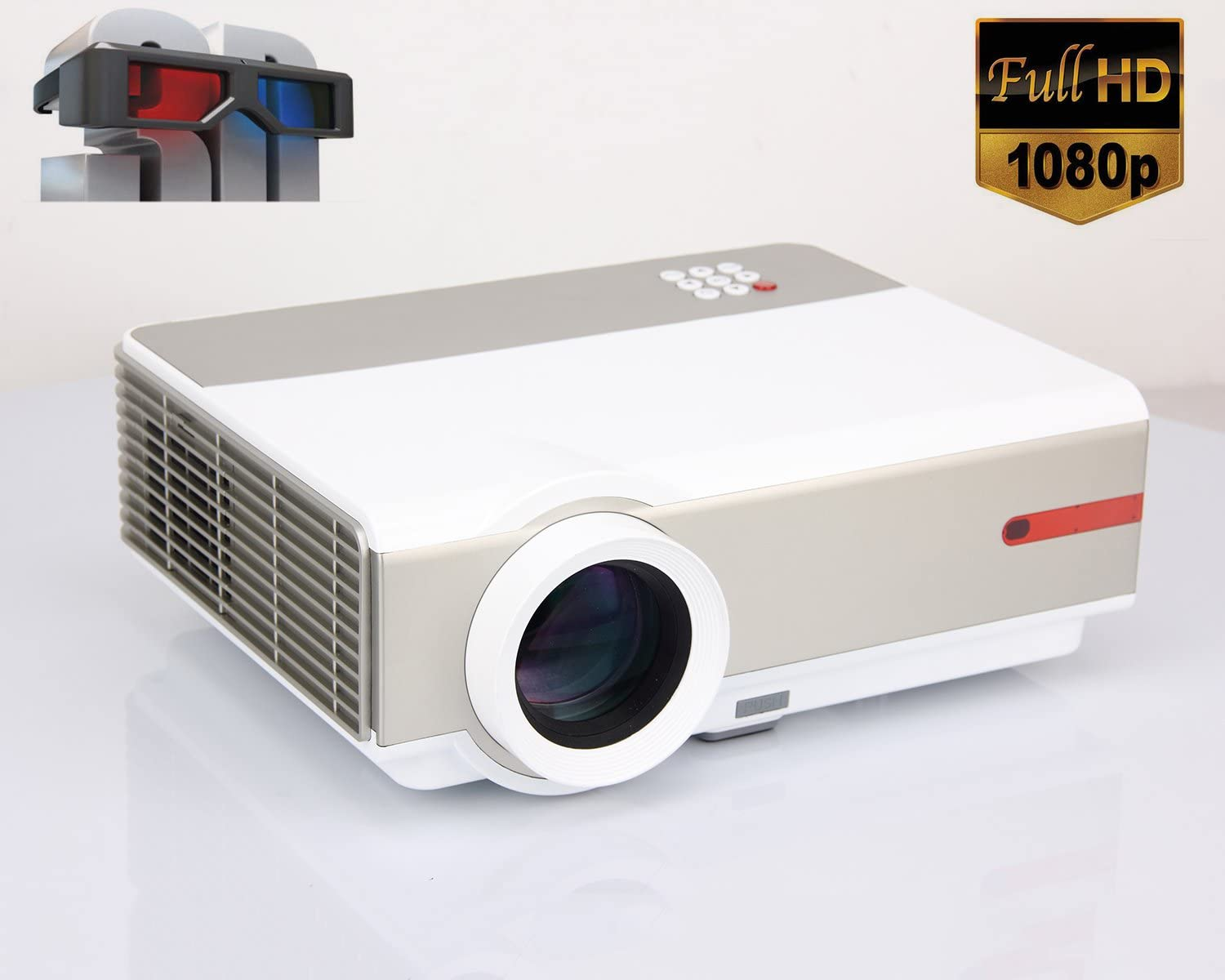 1080P Proyector Full HD Vídeo proyector 5000 Lumens 10000:1 LED ...