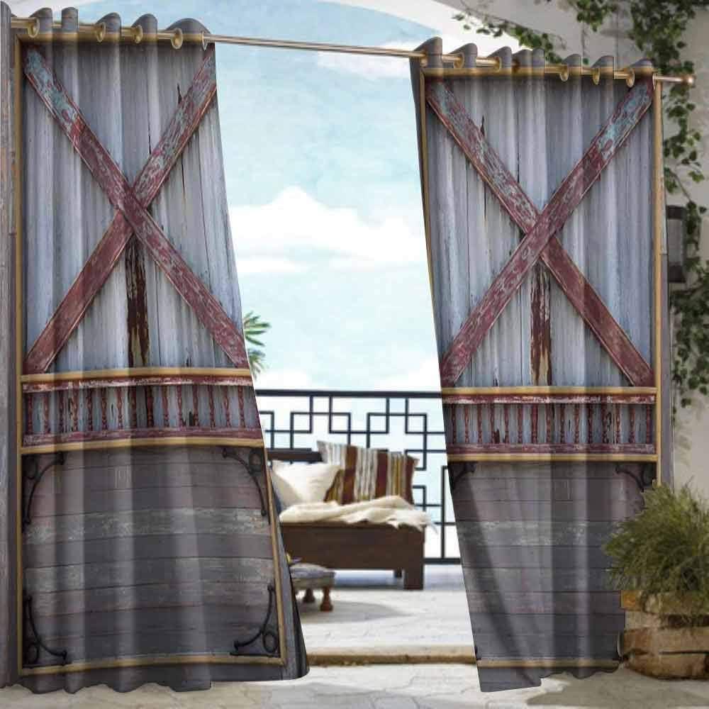 DILITECK - Cortinas de exterior con ojales para decoración industrial, herramientas de madera en tabla de madera, taller de reparación de fabricación manual para patio/porche frontal, color marrón, gris y rojo: Amazon.es: