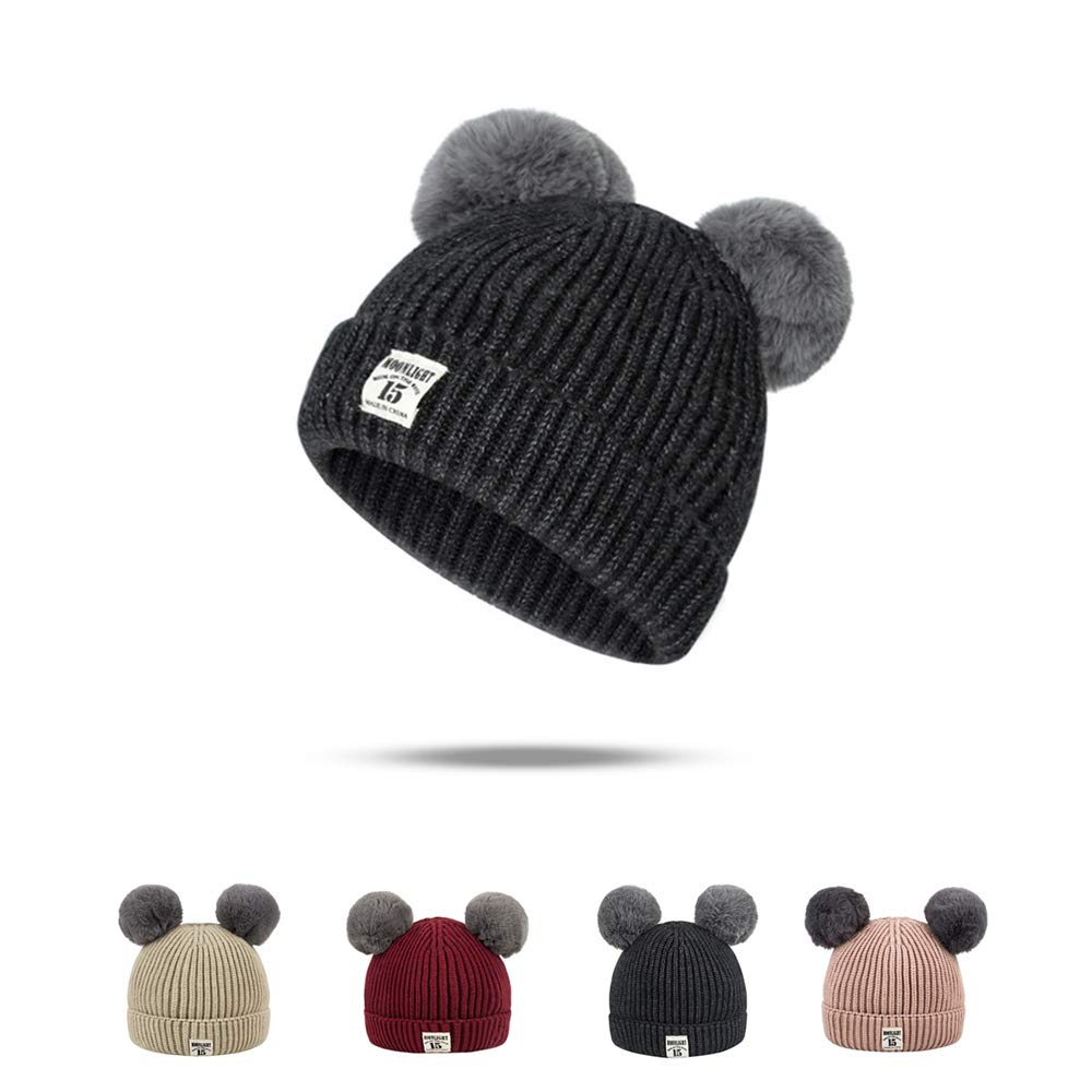 2caa1d1a Baby will like this hat for its skin-friendly, exquisite soft and smooth.  The vivid color and double pom desigin make baby look more cute and cool.