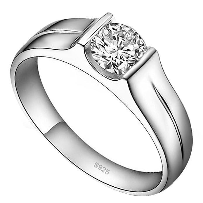 weeno Circonita Cúbica CZ Anillo de compromiso de bodas de plata de ley 925 tamaño o a u: Amazon.es: Joyería