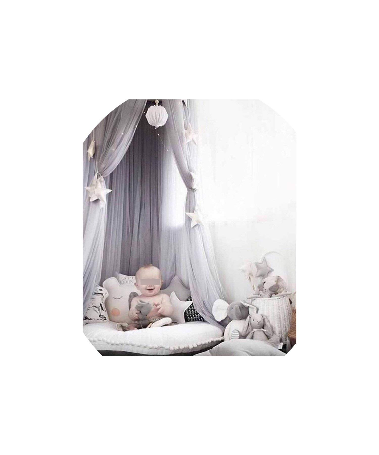 Kid Bedding Mosquito Net Romantic Round Bed Mosquito Net Bed Cover Pink Hung Dome Bed Canopy for Kids Bedroom Nursery,Gray by special shine-shop mosquito net