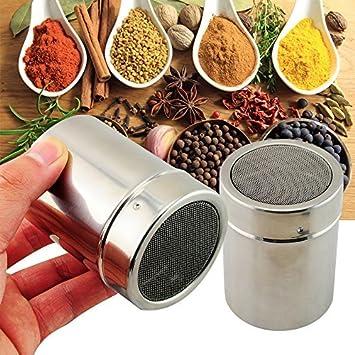 genmine Chocolate coctelera plumero, acero inoxidable espolvoreador harina azúcar en polvo cacao café tamiz de