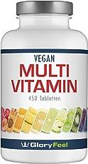 GloryFeel® Multivitamin 450 Tabletten Hochdosiert - Der VERGLEICHSSIEGER 2019* - Alle Wertvollen A-Z Vitamine und Mineralstoffe für 15 Monate - Laborgeprüft hergestellt in Deutschland