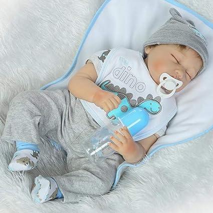 Amazon.com: NPK Looks Real Sleeping Toddler Reborn Baby Doll Gray ...