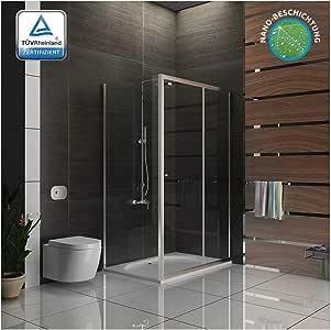 Cabina de ducha puerta corredera 120 x 100/Alpen Berger/Mampara/einscheibensicherheitsglas/cabinas de ducha con cristal los arañazos: Amazon.es: Bricolaje y herramientas