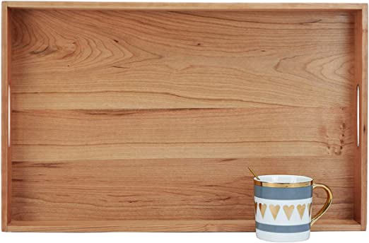 Handmade 27x15 Cherry Wood Finish Wood Serving Tray Gold Finished Handles Ottoman Tray Free Shipping Brown and Gold Mosaic Tile