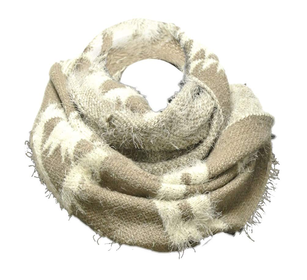 Best Beige Warm Fuzzy Fur Scarves Women Soft Lightweight Native American Indian Design Infinity Scarf Cute Fun Summer Gift Idea for Ladies Teen Girl Her Grandma (Beige) by TravelNut