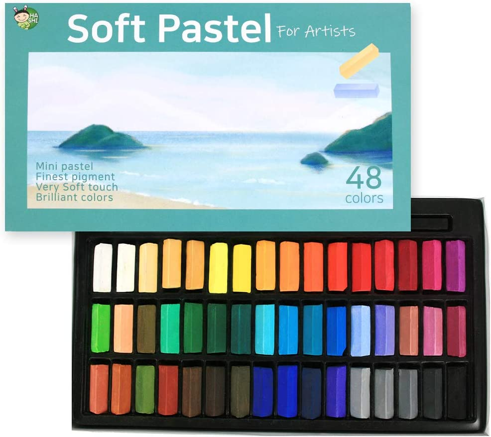 (48 Colors) HASHI Non Toxic Soft Pastels for Professional - Square Chalk pastel Assorted Colors