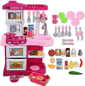 deAO Kitchen Playset Toy with Sounds and Lights Role Playing Game Pretend Food and Cooking Playset for Toddlers Boys Girls