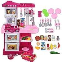 deAO Cucina Di Giocattolo Con Luci E Suoni Include 30 Accessori Per La Cucina (ROSA)